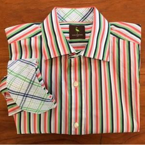 Tailorbyrd Multicolored Stripe Button Down Shirt